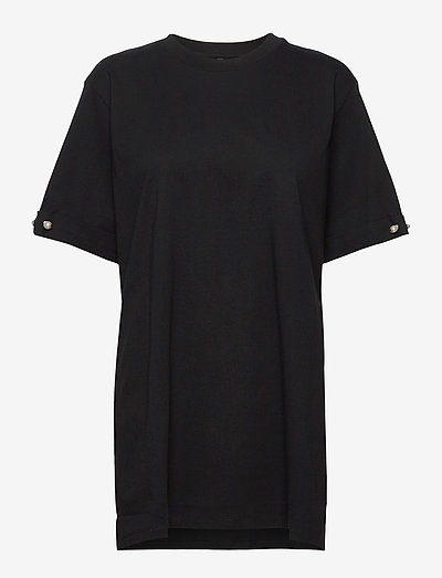 MINTIE OVERSIZED T-SHIRT WITH PEARL BAR - tops zonder mouwen - black