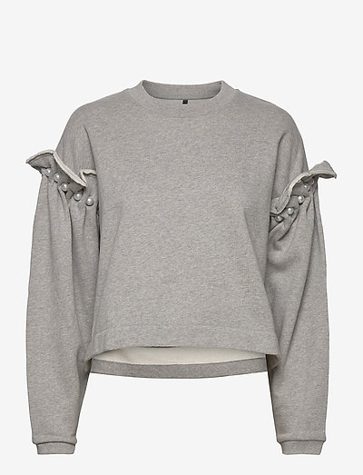 DANI CROPPED JUMPER WITH PEARL SHOULDER - sweatshirts & hættetrøjer - grey
