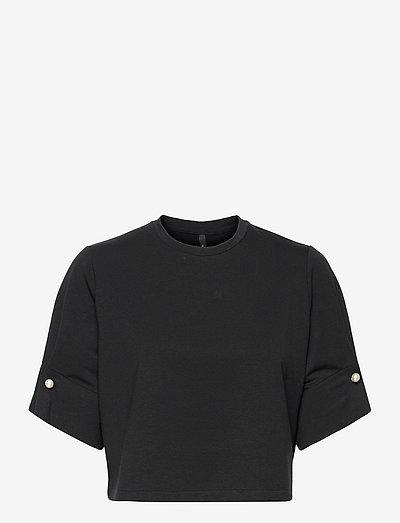 MONICA CROPPED T-SHIRT - crop tops - black