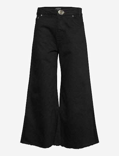 CHLOE BLACK DENIM CROPPED JEANS - hosen mit weitem bein - black