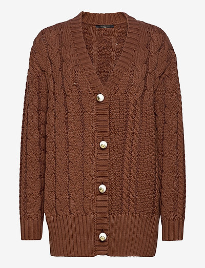 ARIA KNIT CARDIGAN - cardigans - brown
