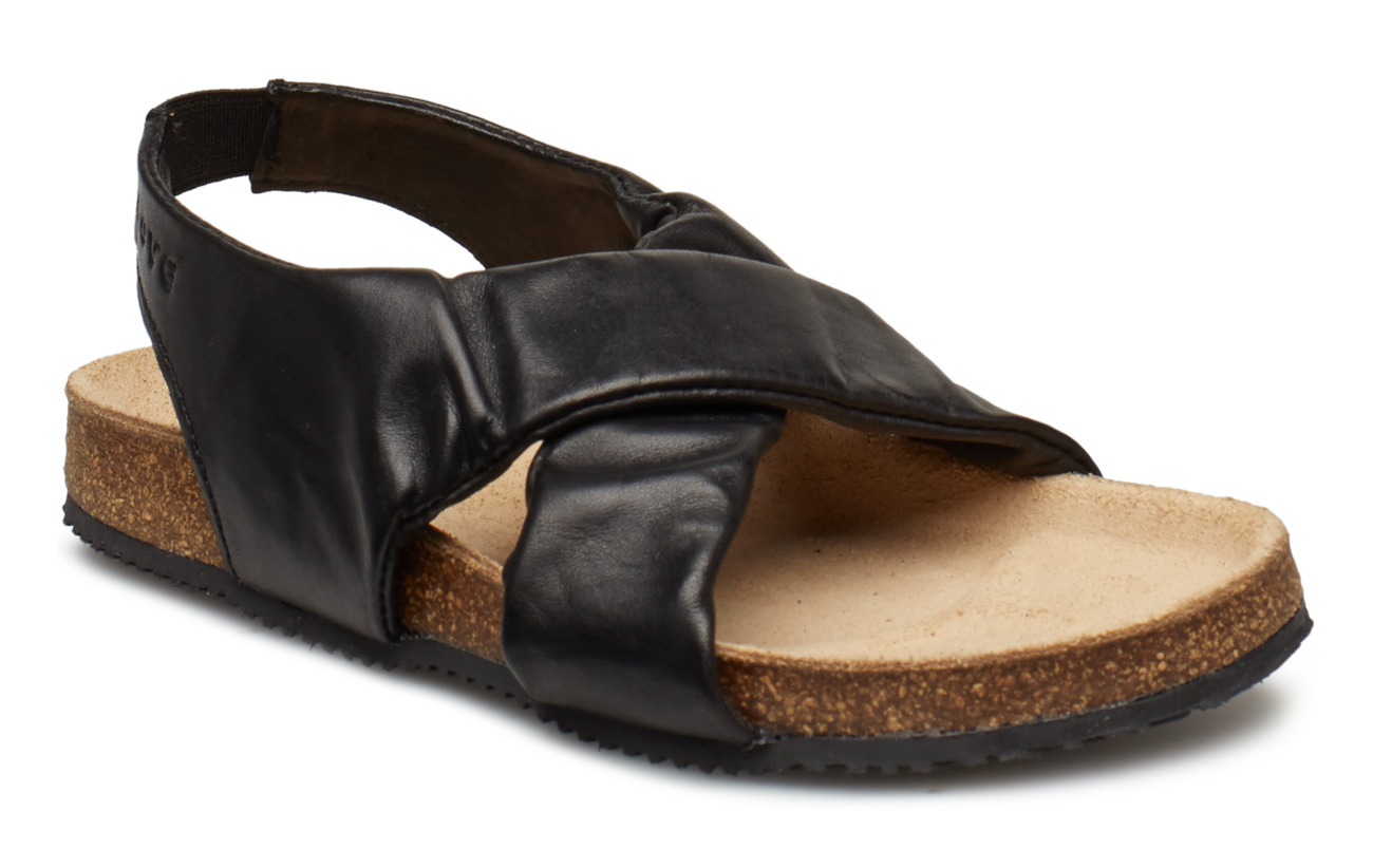 Move by Melton Girls - Cork Sandal w. elastic - BLACK