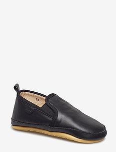 Prewalker - Slip on - BLACK PLAIN LEATHER