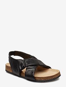 Girls - Cork Sandal w. elastic - BLACK