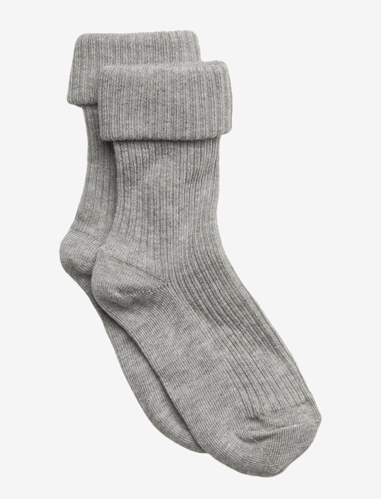mp Denmark - Cotton rib baby socks - skarpetki - grey marl. - 0