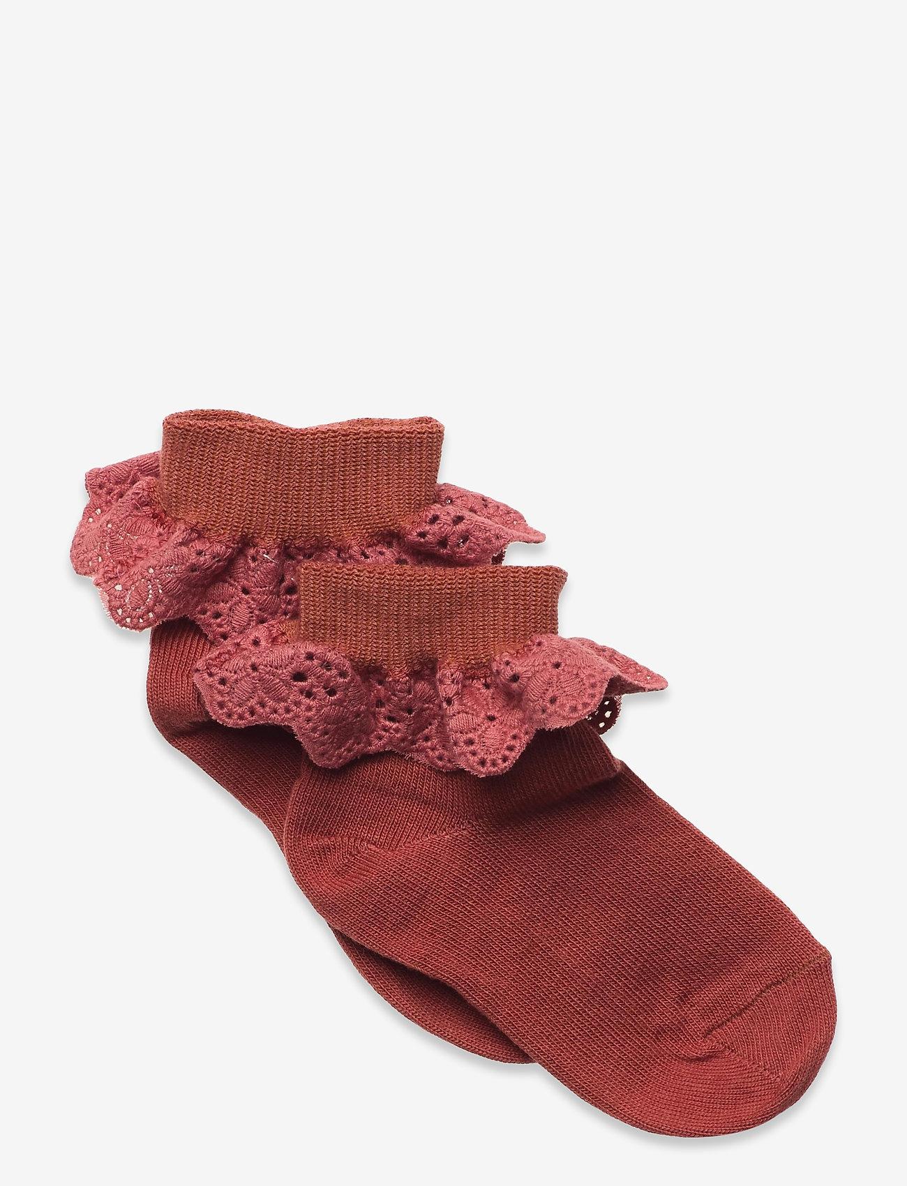 mp Denmark - Cotton socks with lace - skarpetki - red - 0