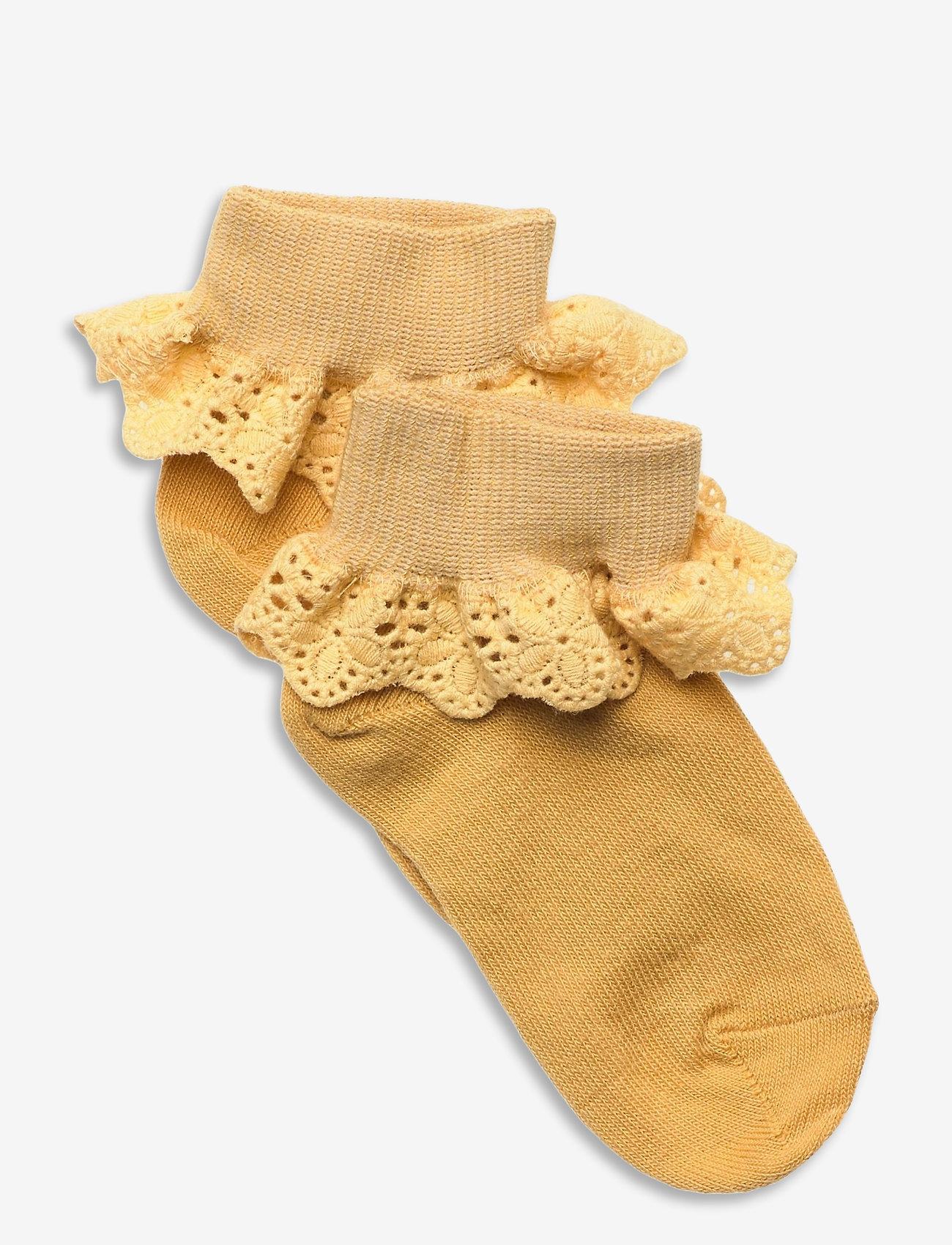 mp Denmark - Cotton socks with lace - skarpetki - yellow - 0
