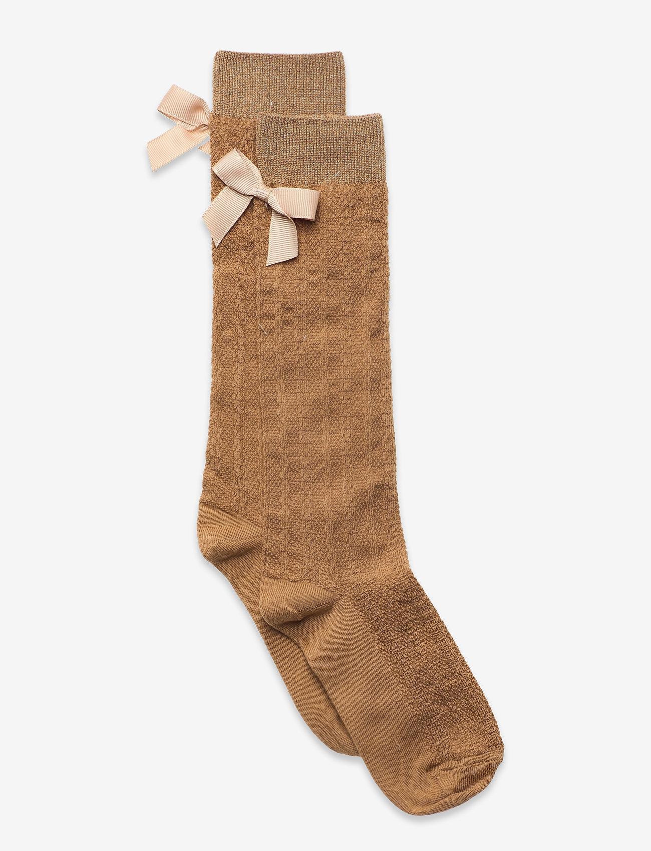 mp Denmark - Sofia knee socks with bow - skarpetki - brown - 0