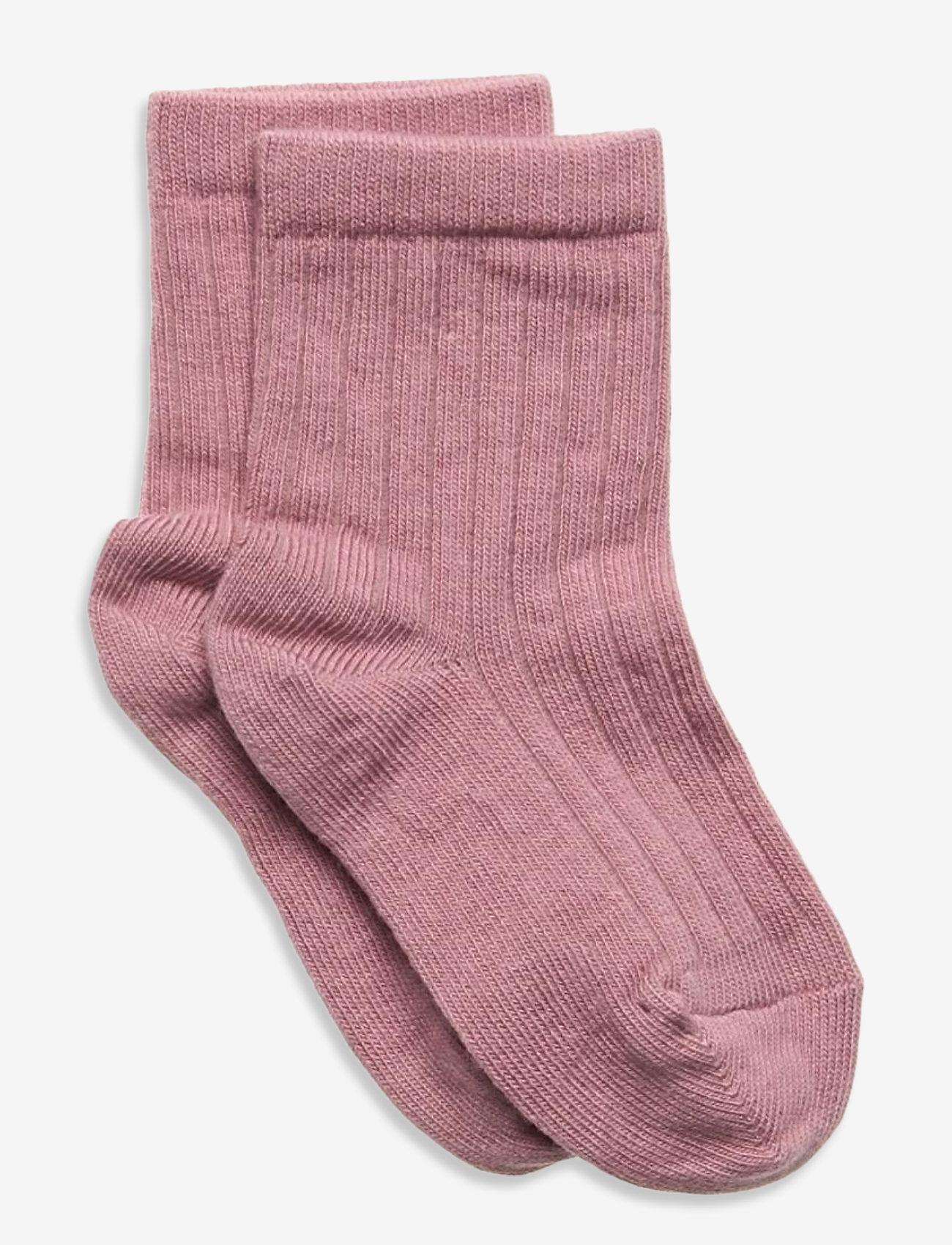 mp Denmark - Cotton rib socks - skarpetki - rose - 0