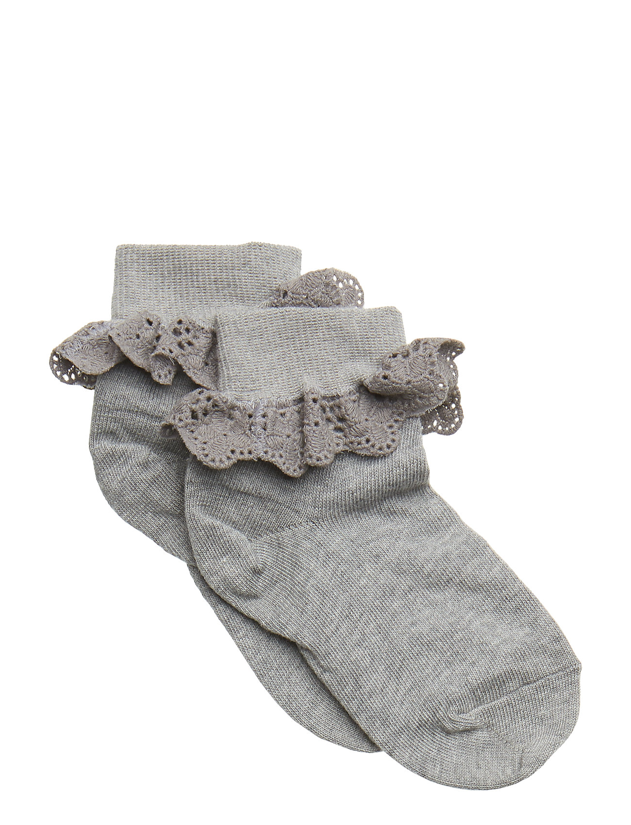 mp Denmark ANKLESOCK WITH TRIMMED LACE - GREY MARL.