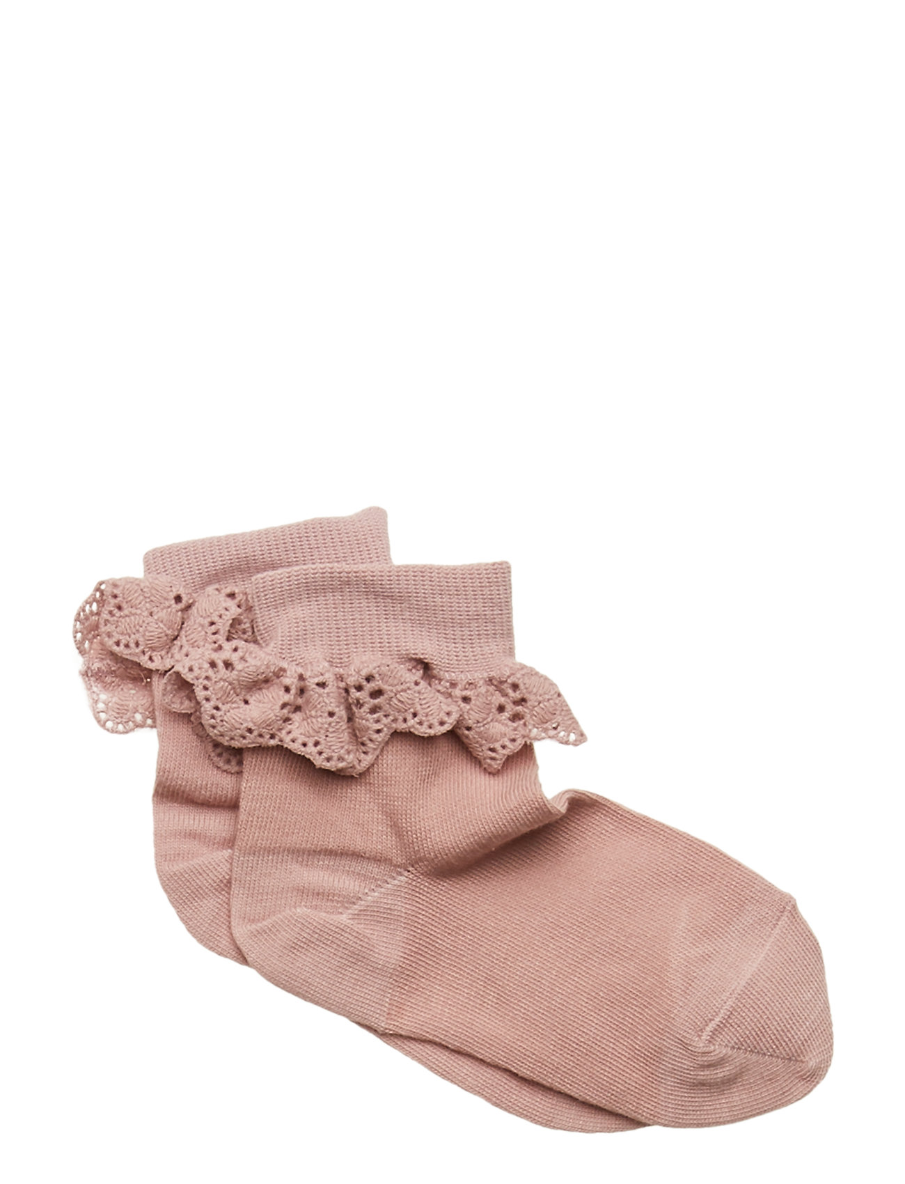 mp Denmark ANKLESOCK WITH TRIMMED LACE - WOOD ROSE