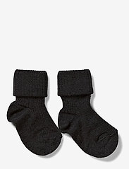mp Denmark - Rib wool baby socks - strømper - anthracite - 0