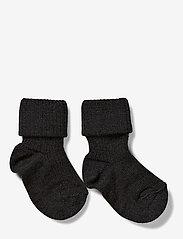 mp Denmark - Wool rib baby socks - zeķes - anthracite - 0