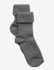 mp Denmark - Rib wool baby socks - strømper - 491/grey marled - 0