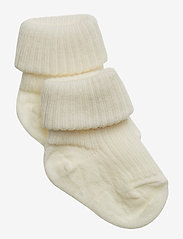 mp Denmark - Rib wool baby socks - strømper - snow white - 0