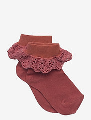 Cotton socks with lace - MARSALA