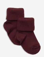 Wool rib baby socks - RED
