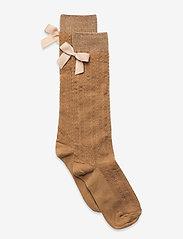 Sofia knee socks with bow - BROWN