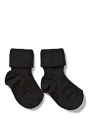 Rib wool baby socks - Anthracite