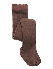Rib wool tights - BROWN