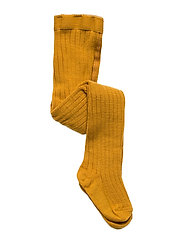 Rib wool tights - GOLDEN
