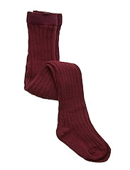 Cotton rib tights - BORDEAUX