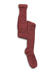 Cotton rib tights - BRICK