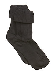 Cotton rib baby socks - BLACK