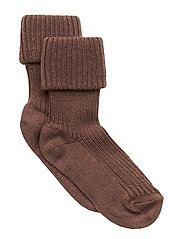 Cotton rib baby socks - BROWN
