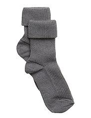 Rib wool baby socks - 491/GREY MARLED