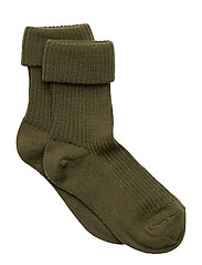 Rib wool baby socks - ARMY