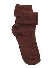 Rib wool baby socks - AUBERGINE