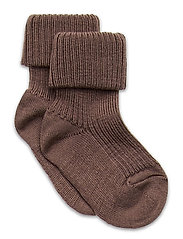 Rib wool baby socks - BROWN