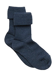 Rib wool baby socks - BROWN MARL