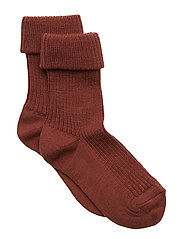 Rib wool baby socks - DARK BRICK