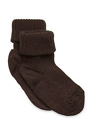 Rib wool baby socks - DARK BROWN