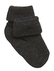 Rib wool baby socks - DARK GREY