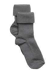 Rib wool baby socks - GREY MARL.