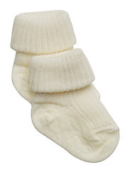 Rib wool baby socks - SNOW WHITE