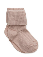 ANKLE WOOL RIB TURN DOWN - 201/ROSE
