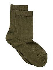 Rib wool socks - ARMY