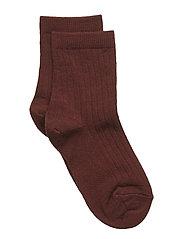 Rib wool socks - AUBERGINE