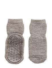 Wool socks with anti-slip - 202/LIGHT BROWN