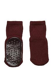 Wool socks with anti-slip - WINE RED
