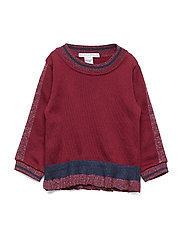GIRLS BLOUSE W. FRILL - WINE RED