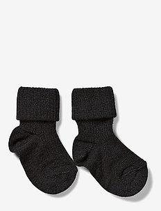 Rib wool baby socks - strømper - anthracite