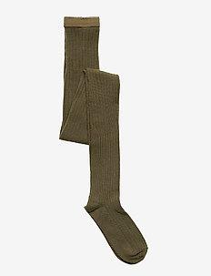 Rib wool tights - strømpebukser - army