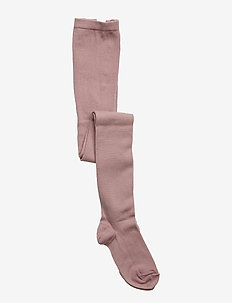 Plain wool/cotton tights - strømpebukser - wood rose
