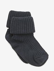 Cotton rib baby socks - strømper - 142/indi blue