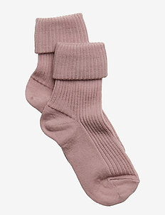 ANKLE WOOL RIB TURN DOWN - strømper - 188/wood rose